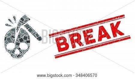 Mosaic Break Skull Pictogram And Red Break Seal Between Double Parallel Lines. Flat Vector Break Sku