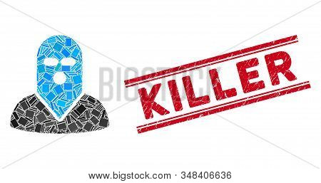 Mosaic Masked Killer Pictogram And Red Killer Seal Between Double Parallel Lines. Flat Vector Masked