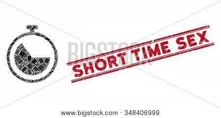 Mosaic Stopwatch Pictogram And Red Short Time Sex Seal Stamp Between Double Parallel Lines. Flat Vec