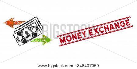 Mosaic Money Exchange Pictogram And Red Money Exchange Stamp Between Double Parallel Lines. Flat Vec