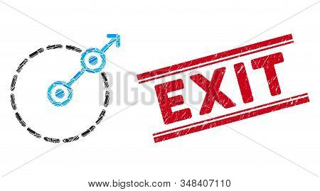 Mosaic Round Area Exit Icon And Red Exit Seal Stamp Between Double Parallel Lines. Flat Vector Round