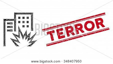 Mosaic House Terror Icon And Red Terror Stamp Between Double Parallel Lines. Flat Vector House Terro