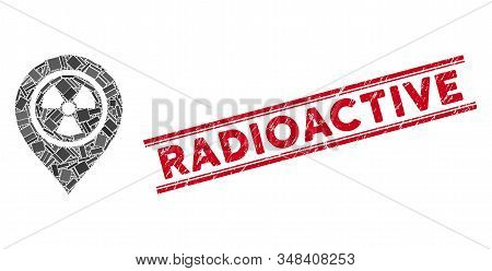Mosaic Radioactive Marker Icon And Red Radioactive Stamp Between Double Parallel Lines. Flat Vector