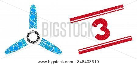 Mosaic Three Bladed Screw Pictogram And Red 3 Seal Stamp Between Double Parallel Lines. Flat Vector