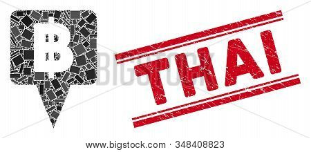 Mosaic Thai Baht Map Pointer Pictogram And Red Thai Seal Between Double Parallel Lines. Flat Vector