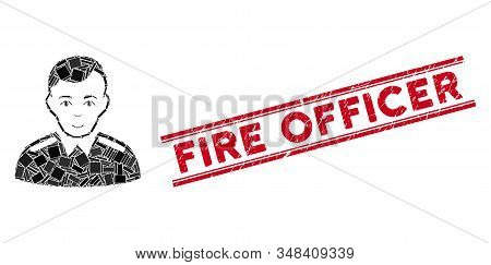 Mosaic Officer Pictogram And Red Fire Officer Rubber Print Between Double Parallel Lines. Flat Vecto