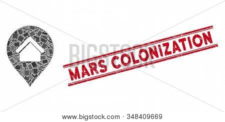 Mosaic Residence Marker Icon And Red Mars Colonization Seal Stamp Between Double Parallel Lines. Fla