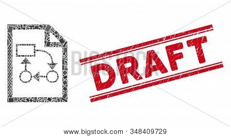 Mosaic Business Plan Pictogram And Red Draft Stamp Between Double Parallel Lines. Flat Vector Busine