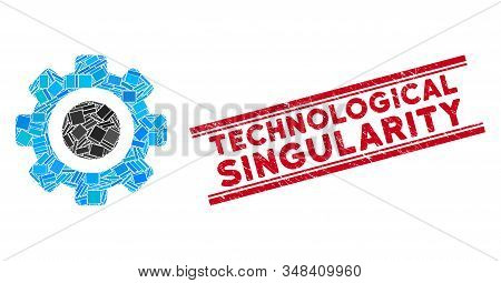 Mosaic Gear Icon And Red Technological Singularity Watermark Between Double Parallel Lines. Flat Vec