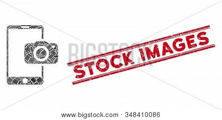Mosaic Mobile Camera Icon And Red Stock Images Seal Stamp Between Double Parallel Lines. Flat Vector