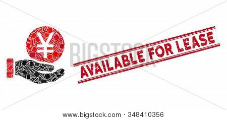 Mosaic Yen Coin Payment Hand Icon And Red Available For Lease Seal Stamp Between Double Parallel Lin