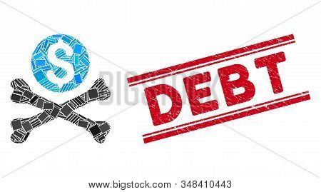Mosaic Mortal Debt Icon And Red Debt Seal Stamp Between Double Parallel Lines. Flat Vector Mortal De