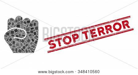 Mosaic Fist Pictogram And Red Stop Terror Stamp Between Double Parallel Lines. Flat Vector Fist Mosa