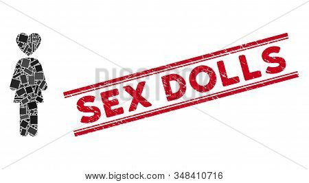 Mosaic Lover Woman Icon And Red Sex Dolls Seal Stamp Between Double Parallel Lines. Flat Vector Love