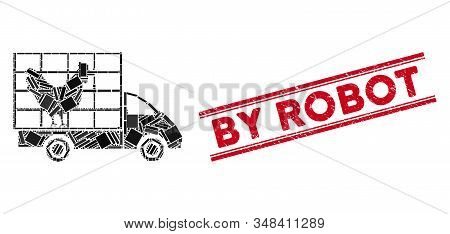 Mosaic Chicken Wagon Icon And Red By Robot Seal Stamp Between Double Parallel Lines. Flat Vector Chi