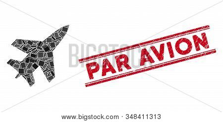 Mosaic Jet Fighter Pictogram And Red Par Avion Seal Stamp Between Double Parallel Lines. Flat Vector