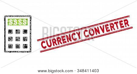 Mosaic Book-keeping Calculator Icon And Red Currency Converter Rubber Print Between Double Parallel