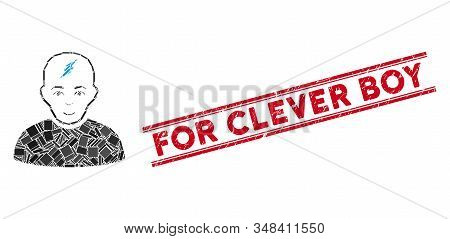Mosaic Clever Boy Icon And Red For Clever Boy Seal Stamp Between Double Parallel Lines. Flat Vector