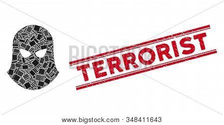 Mosaic Terrorist Balaklava Pictogram And Red Terrorist Watermark Between Double Parallel Lines. Flat
