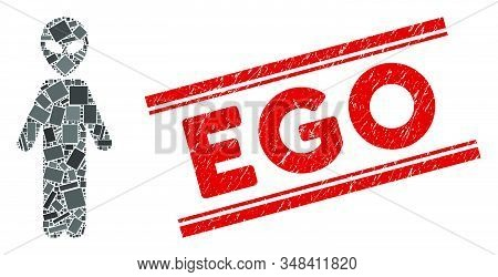 Mosaic Alien Person Icon And Red Ego Stamp Between Double Parallel Lines. Flat Vector Alien Person M