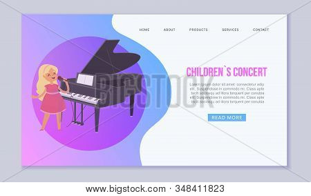 Girl Sings Songs Concert On Classical Music Performances With Grand Piano Vector Web Template. Illus