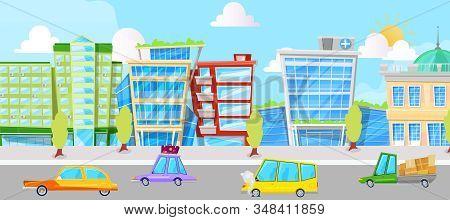 City Street With Cartoon Cars Panorama Vector Illustration. Cars Driving City Street Panorama, Urban