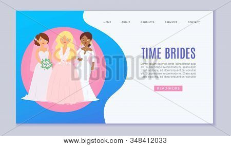 Wedding Planning Vector Website Template Cartoon Illustration. Wedding Services, White Dresses And C