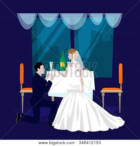 Wedding Restaurant Banquet Hall Cartoon Vector Illustration. Festive Occasion, Restaurant Service Fo