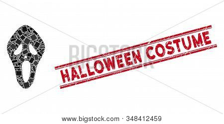 Mosaic Scary Mask Pictogram And Red Halloween Costume Seal Stamp Between Double Parallel Lines. Flat