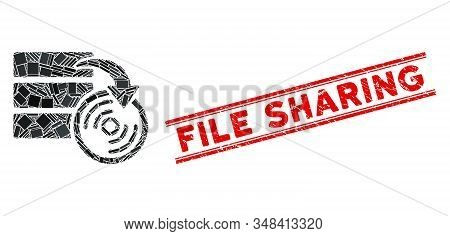 Mosaic Database Backup Pictogram And Red File Sharing Seal Stamp Between Double Parallel Lines. Flat
