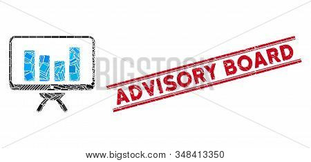 Mosaic Bar Chart Monitoring Pictogram And Red Advisory Board Seal Stamp Between Double Parallel Line