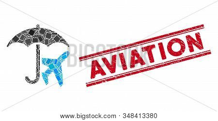 Mosaic Aviation Umbrella Pictogram And Red Aviation Rubber Print Between Double Parallel Lines. Flat