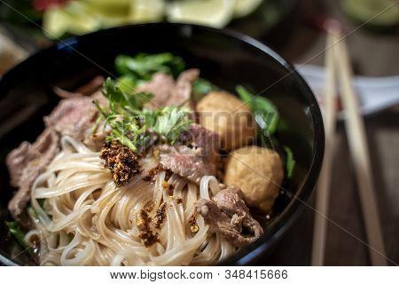 Thai style noodle blood soup,boat noodle,delicious dish,famous Thai noodle soup. Thai peoples call B