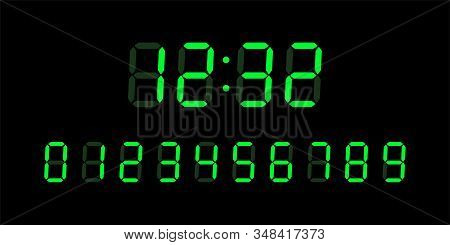 Green Digital Glowing Numbers For Lcd Electronic Devices Screen Isolated On Black Background. Clock,