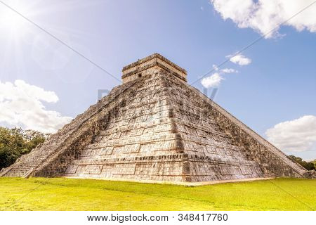 Famous Pyramid Of Kukulcan Or El Castillo At Chichen Itza, The Largest Archaeological Cities Of The