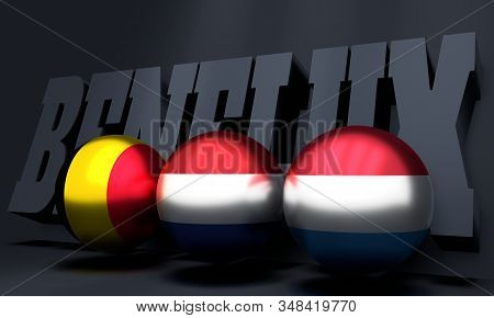 Acronym Benelux - Belgium Netherlands And Luxemburg Agreement. 3d Rendering. National Flags On Spher