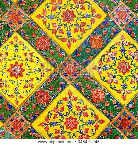 Old Over 151 Year Wall Ceramic Tiles Patterns Handcraft From Thailand Temple Wall Public