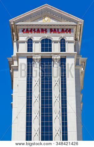 Las Vegas, Nevada, United States, July 8, 2011: Low Angle View Of Exterior Of Augustus Tower Caesars