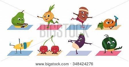 Fruit Yoga. Cartoon Vegetable Funny Characters Doing Yoga Poses And Sport Exercises, Healthy Food An