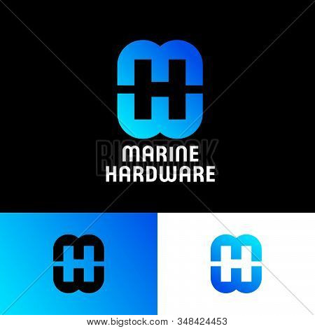 Marine Hardware Logo. Letter M, H And W Monogram. Logo Consist Of  Blue Letters And Illusion, Isolat
