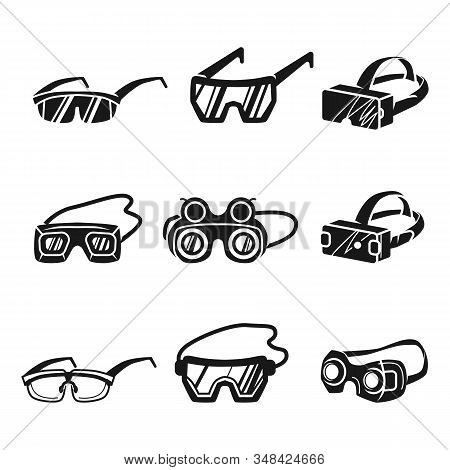 Goggles Icons Set. Simple Set Of Goggles Vector Icons For Web Design On White Background