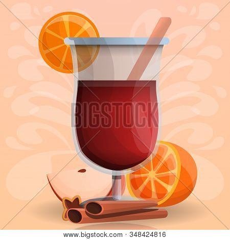 Mulled Wine Concept Background. Cartoon Illustration Of Mulled Wine Vector Concept Background For We