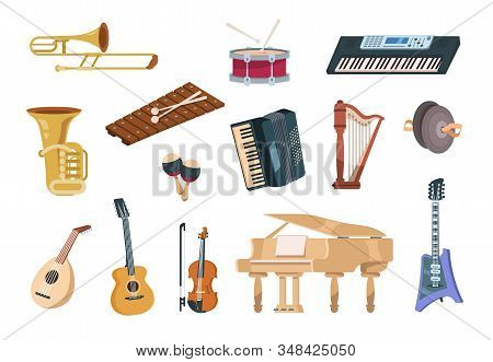 Cartoon Musical Instruments. Acoustic, Electric, String And Wind Musical Instruments With Piano, Gui