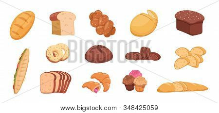 Cartoon Bread. Wheat Rye And Buckwheat Sliced And Whole Bread Baguette Croissant Bagel, Toast Bread