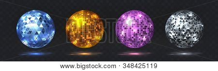 Disco Balls. Night Club Party Element With Mirror Surface, Silver And Golden Dance Club Light Effect