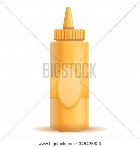 Mustard Plastic Bottle Icon. Cartoon Of Mustard Plastic Bottle Vector Icon For Web Design Isolated O