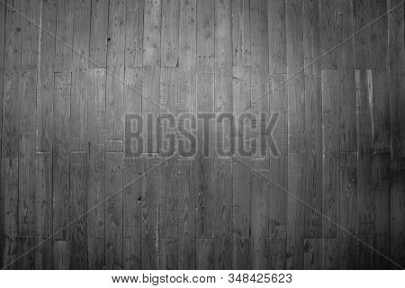 Wood Plank Black Texture Background. Wooden Wall All Antique Cracking Furniture Painted Weathered Wh
