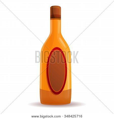 Apple Vinegar Bottle Icon. Cartoon Of Apple Vinegar Bottle Vector Icon For Web Design Isolated On Wh