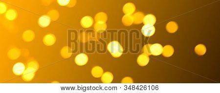 Holiday Bokeh Golden Lights Background. Festive Backdrop. Social Media Banner Or Header.