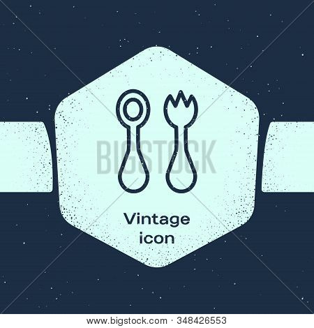 Grunge Line Baby Plastic Cutlery With Fork And Spoon Icon Isolated On Blue Background. Cutlery For K